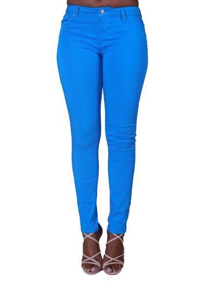 Cool Blue Mid Rise Skinny Pants