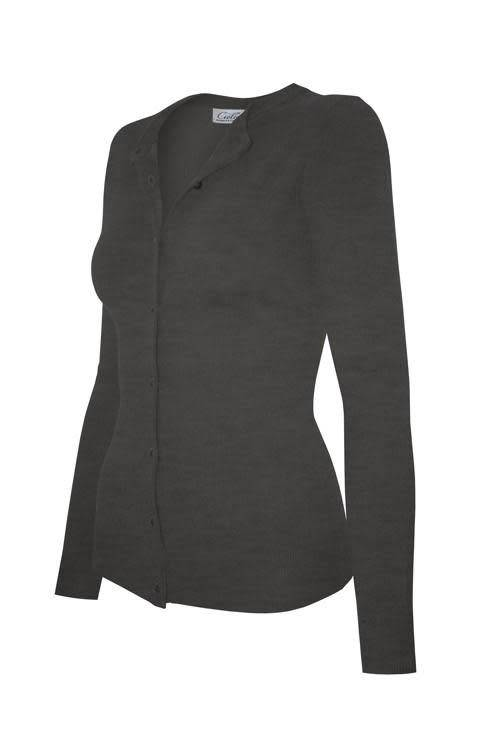 Charcoal Grey Round Neck Cardigan