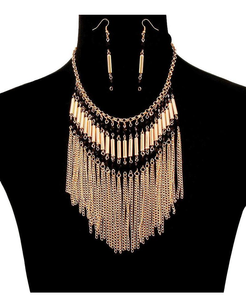 Dancing Beads Necklace Set - Black