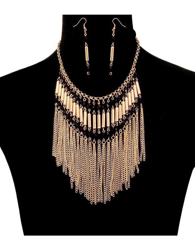Dancing Beads Necklace Set - Black