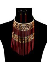 Caribbean Fete Necklace Set - Red