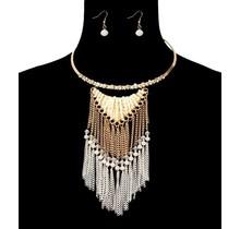 Tassel Down Necklace Set - White