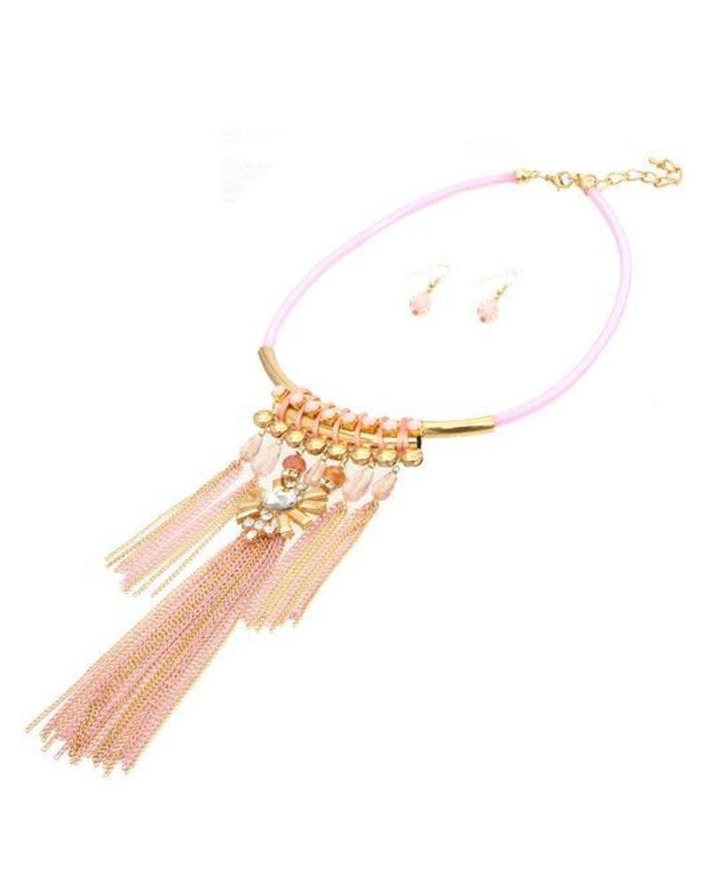Jeweling Tassels Necklace Set - Pink