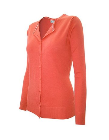 Orange Round Neck Cardigan