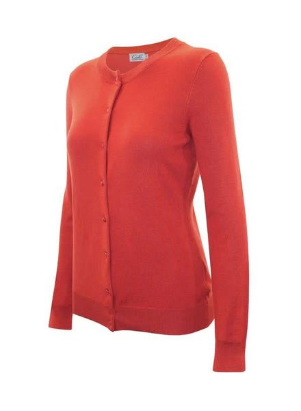 Hot Coral Round Neck Cardigan