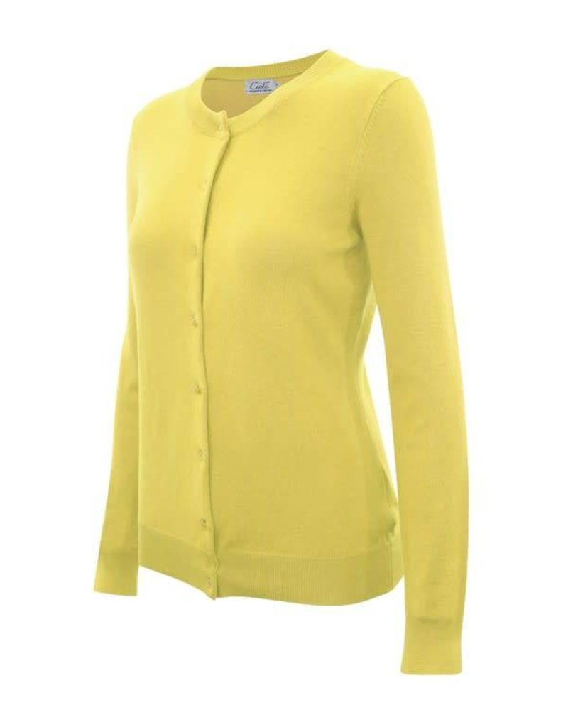 Lemon Yellow Round Neck Cardigan