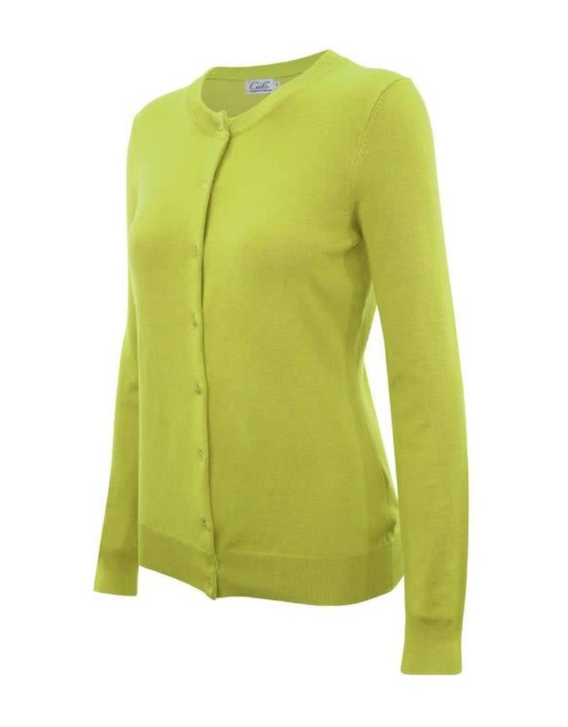 Lime Round Neck Cardigan