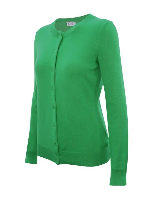 Apple Green Round Neck Cardigan