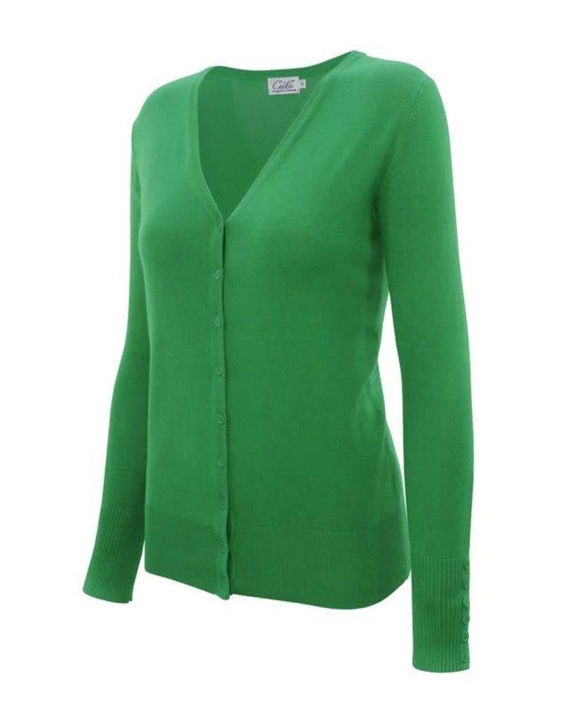 Apple Green V Neck Cardigan