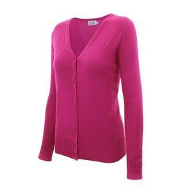 Hot Pink V Neck Cardigan