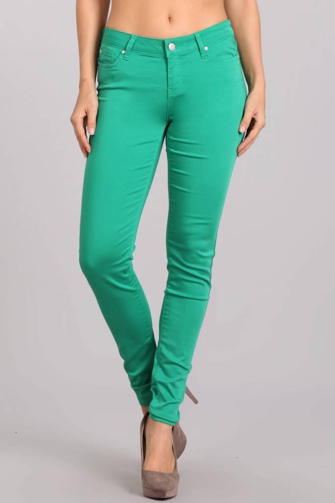 Green Mid Rise Skinny Pants
