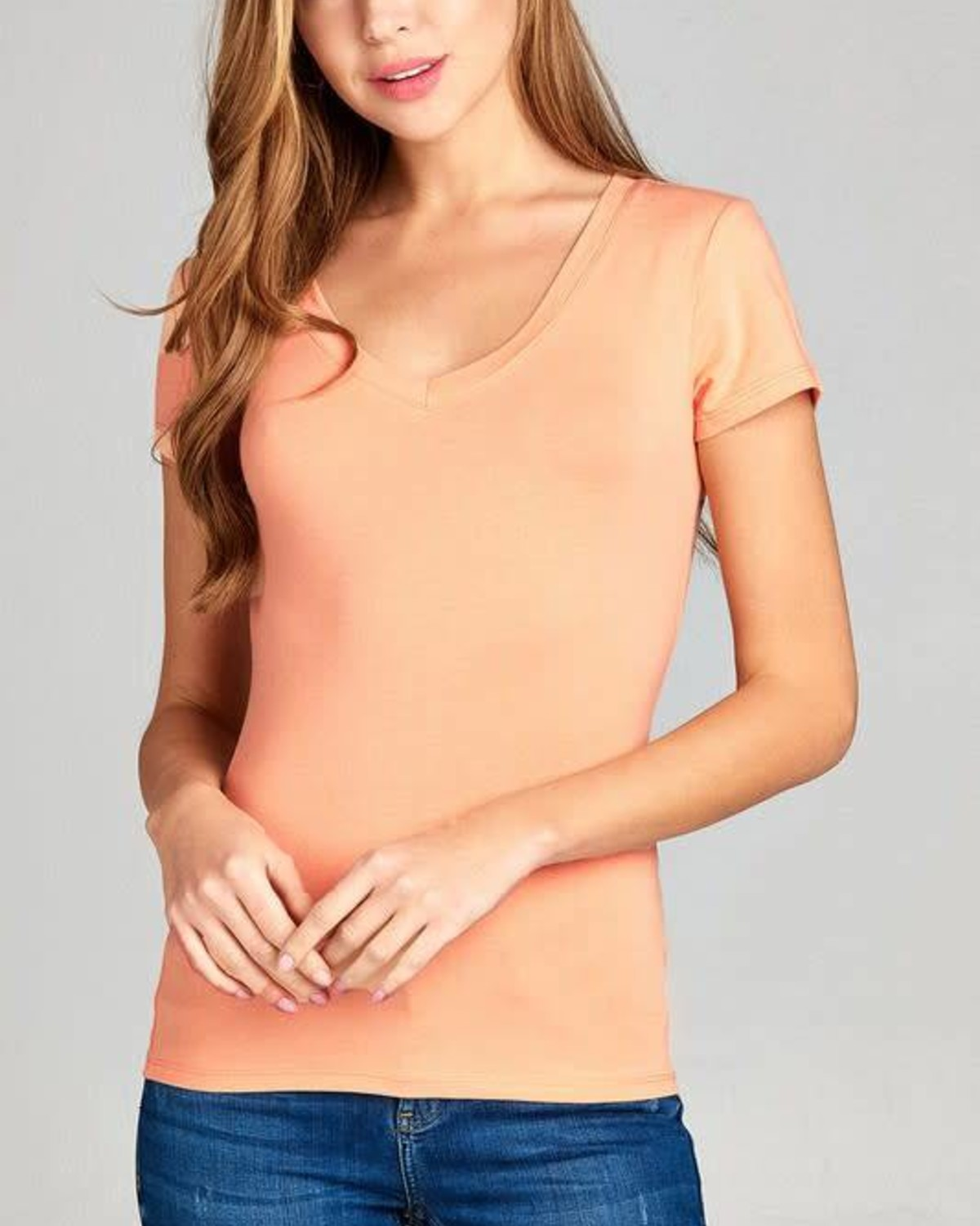 Peach Round Neck T-Shirt