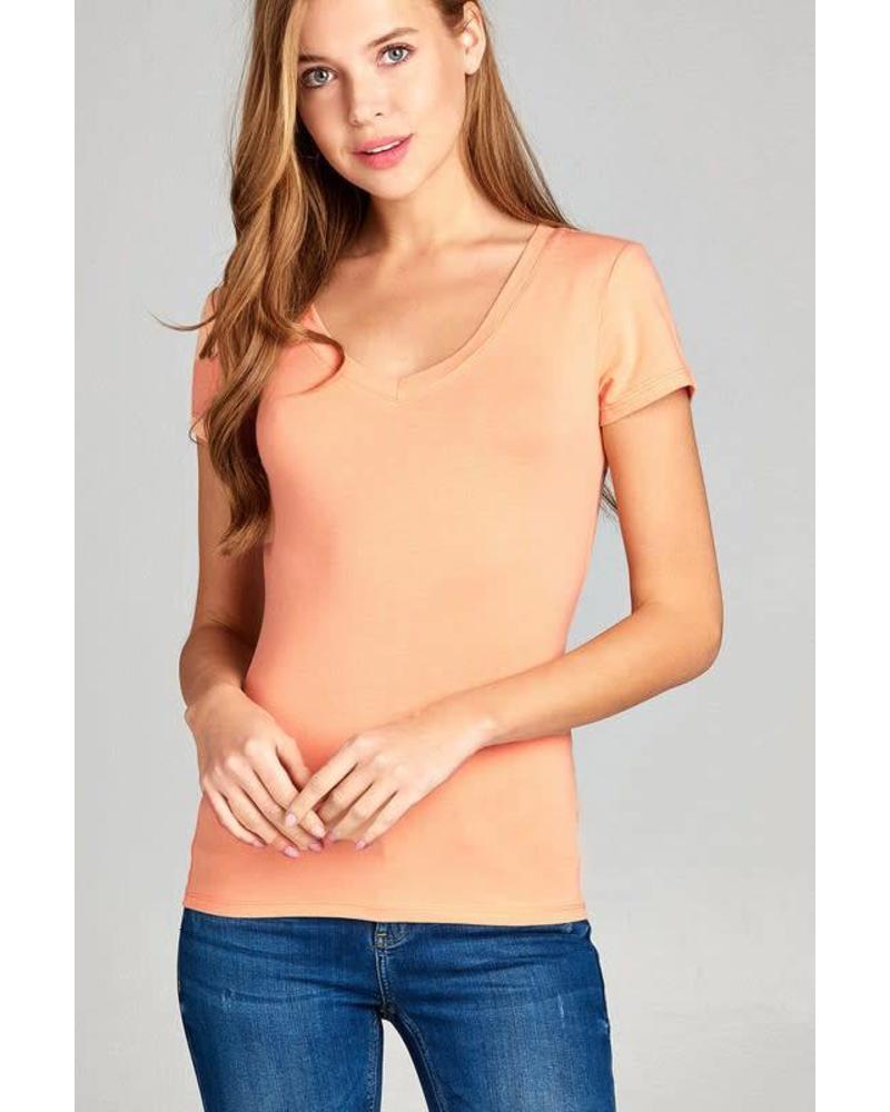 Peach Round Neck T-Shirt