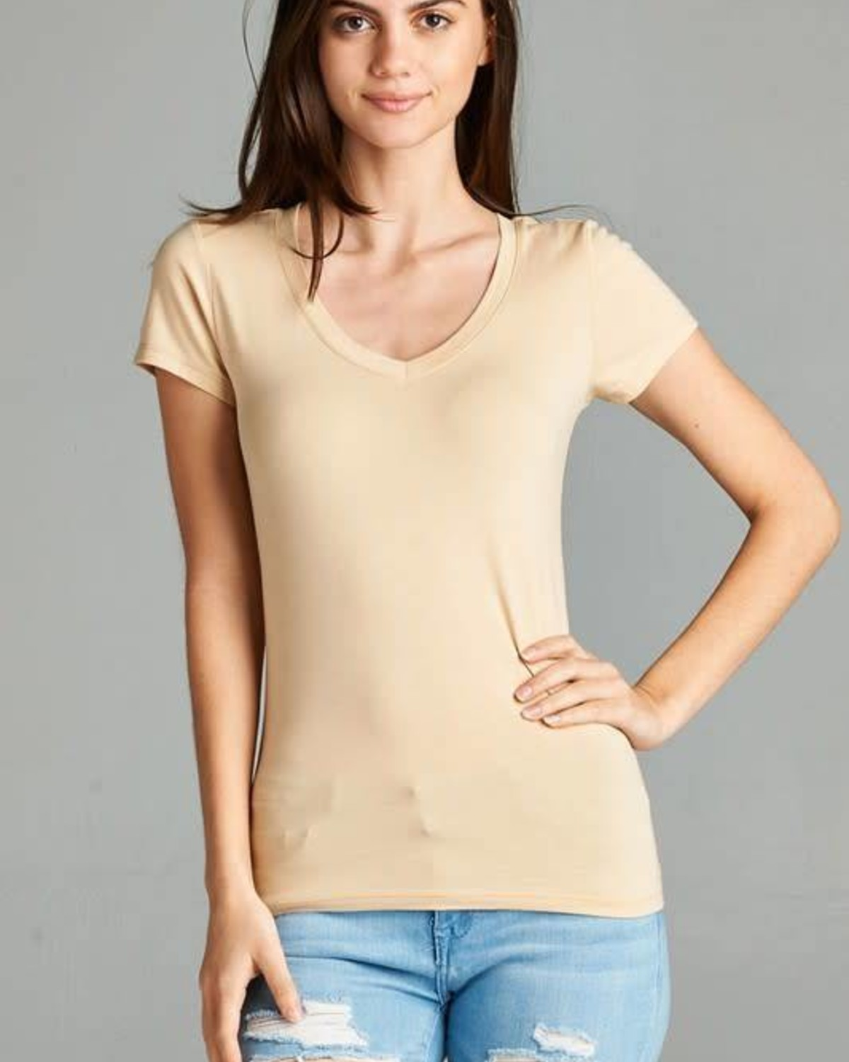 Taupe V Neck T-Shirt
