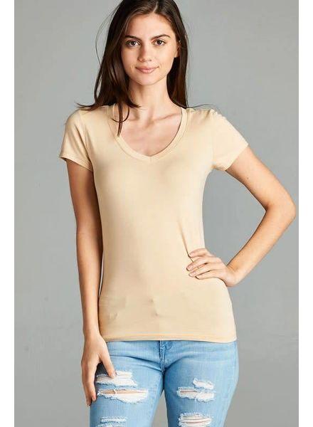 Taupe V Neck T-Shirt