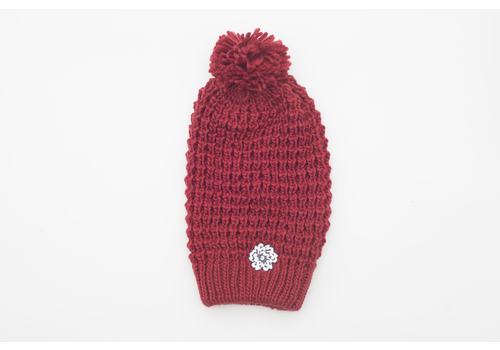 SVA Flower Knit Hat - Crimson