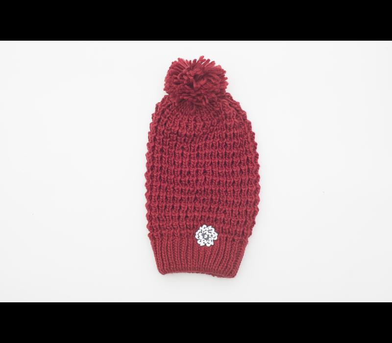 SVA Flower Knit Hat - Crimson