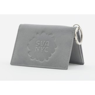 SVA Splat Logo Leather Snap Wallet - Gray