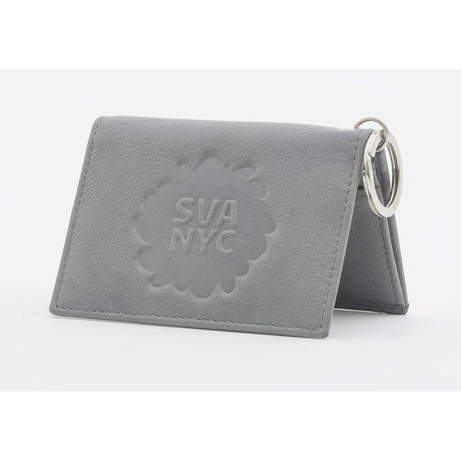 SVA Splat Logo Leather Snap Wallet - Gray