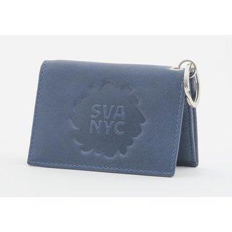 SVA Splat Logo Leather Snap Wallet - Navy