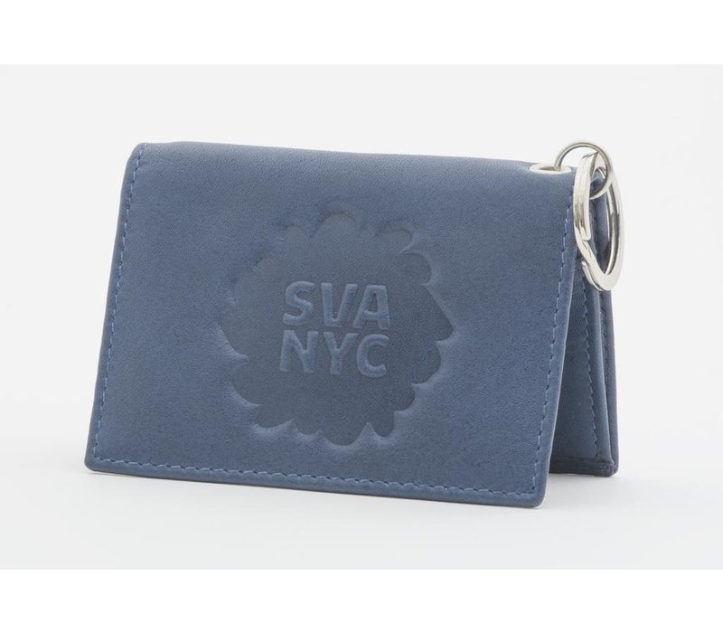 SVA Splat Logo Leather Snap Wallet - Navy