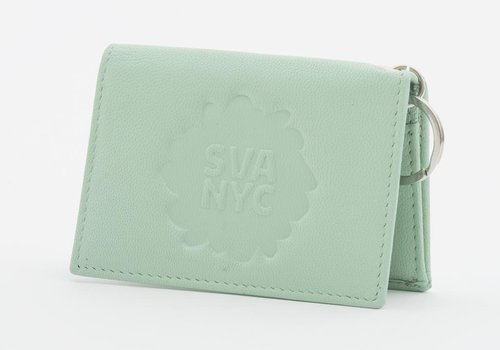SVA Splat Logo Leather Snap Wallet - Mint Green