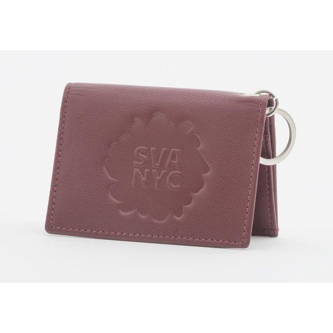 SVA Splat Logo Leather Snap Wallet - Burgandy