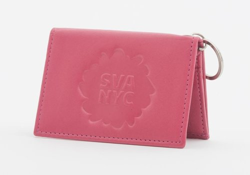 SVA Splat Logo Leather Snap Wallet - Fuchsia