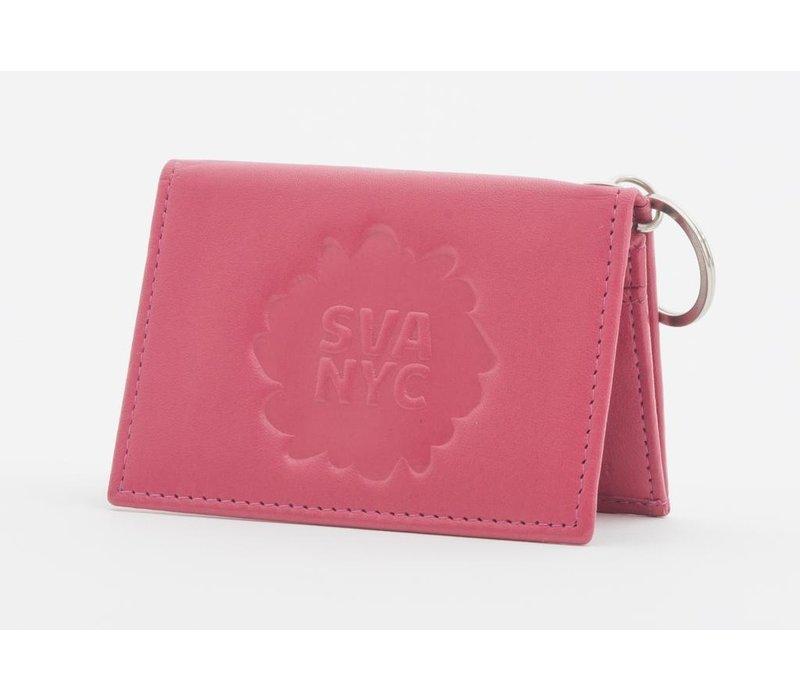 SVA Splat Logo Leather Snap Wallet - Fuchsia