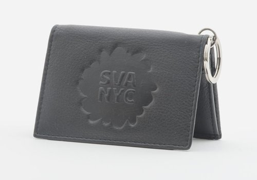 SVA Splat Logo Leather Snap Wallet - Black