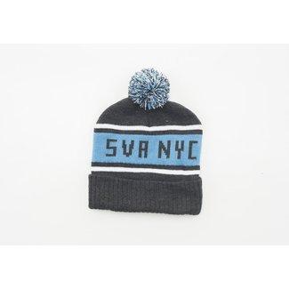 SVA NYC Logo Gray + Blue Stripe Beanie w/ Pom