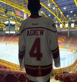 18-19 Game Worn Jersey - White - #4 Agnew