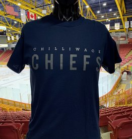 "Adult Navy T W/  Grey ""Chilliwack Chiefs"""