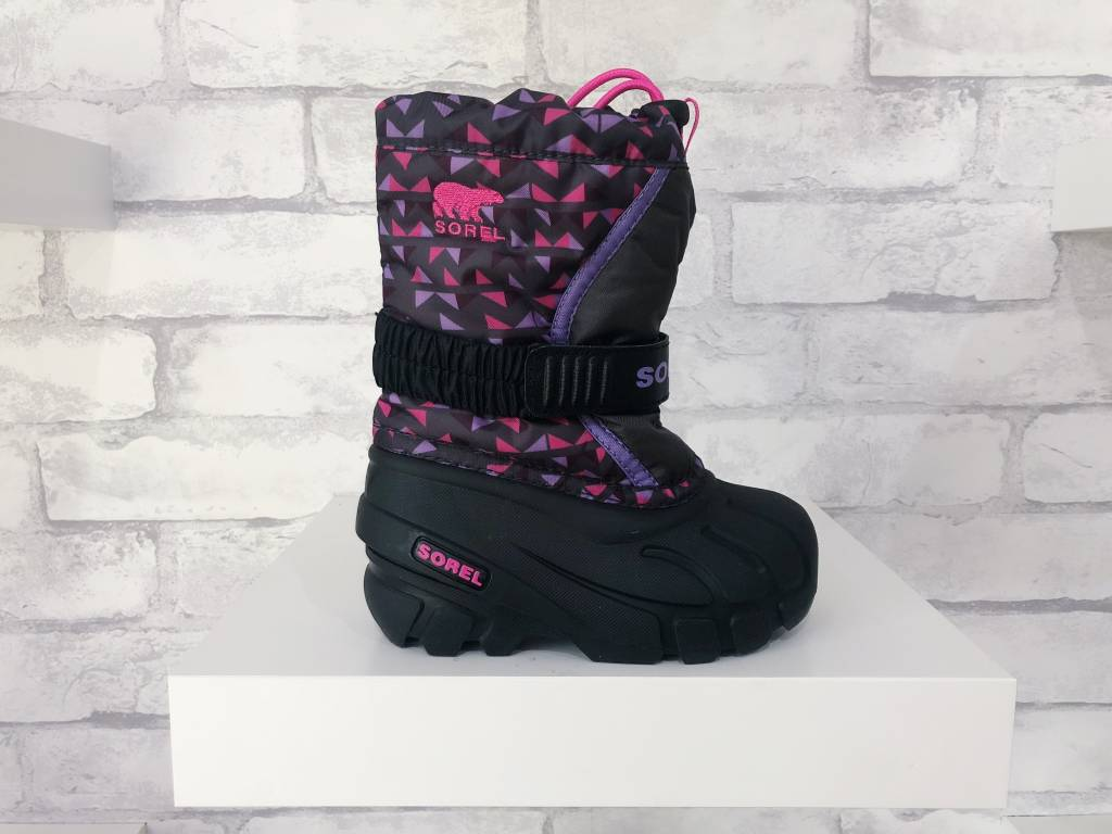 Sorel Footwear Youth Flurry Dark Grey/Pink Glow