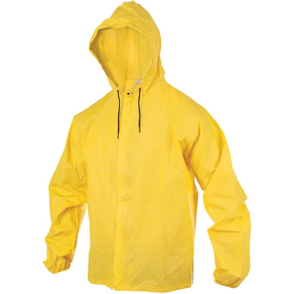 O2 Rainwear Hooded Rain Jacket with Drop Tail: Yellow