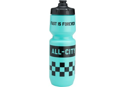 All-City All-City Purist Water Bottle: Fast is Forever, Turquoise, 26oz