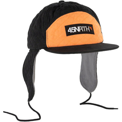 45NRTH Flap Cap, Black/Orange, One Size