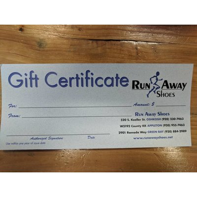 Run Away Shoes Gift Certificate Sale