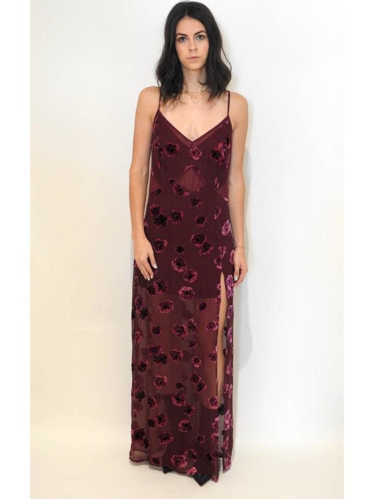 5ecf76f5a04ae For Love & Lemons Sophie Velvet Floral Maxi Dress in Pansy - Elyse Wilde