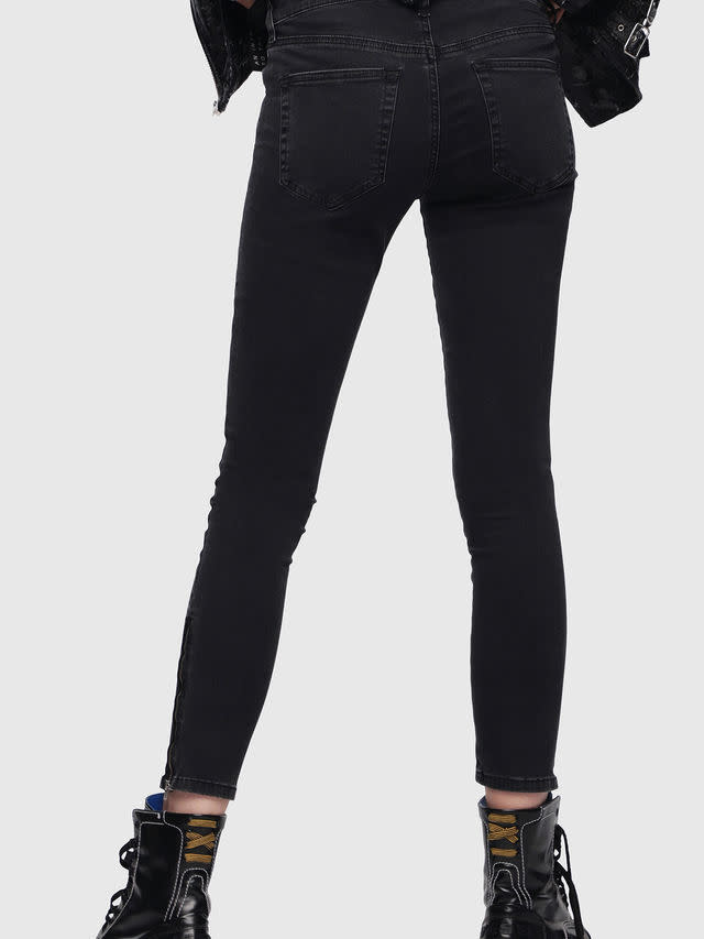 DIESEL DIESEL WOMEN'S JEANS SLANDY ZIP 0680I - BLACK/DARK GREY