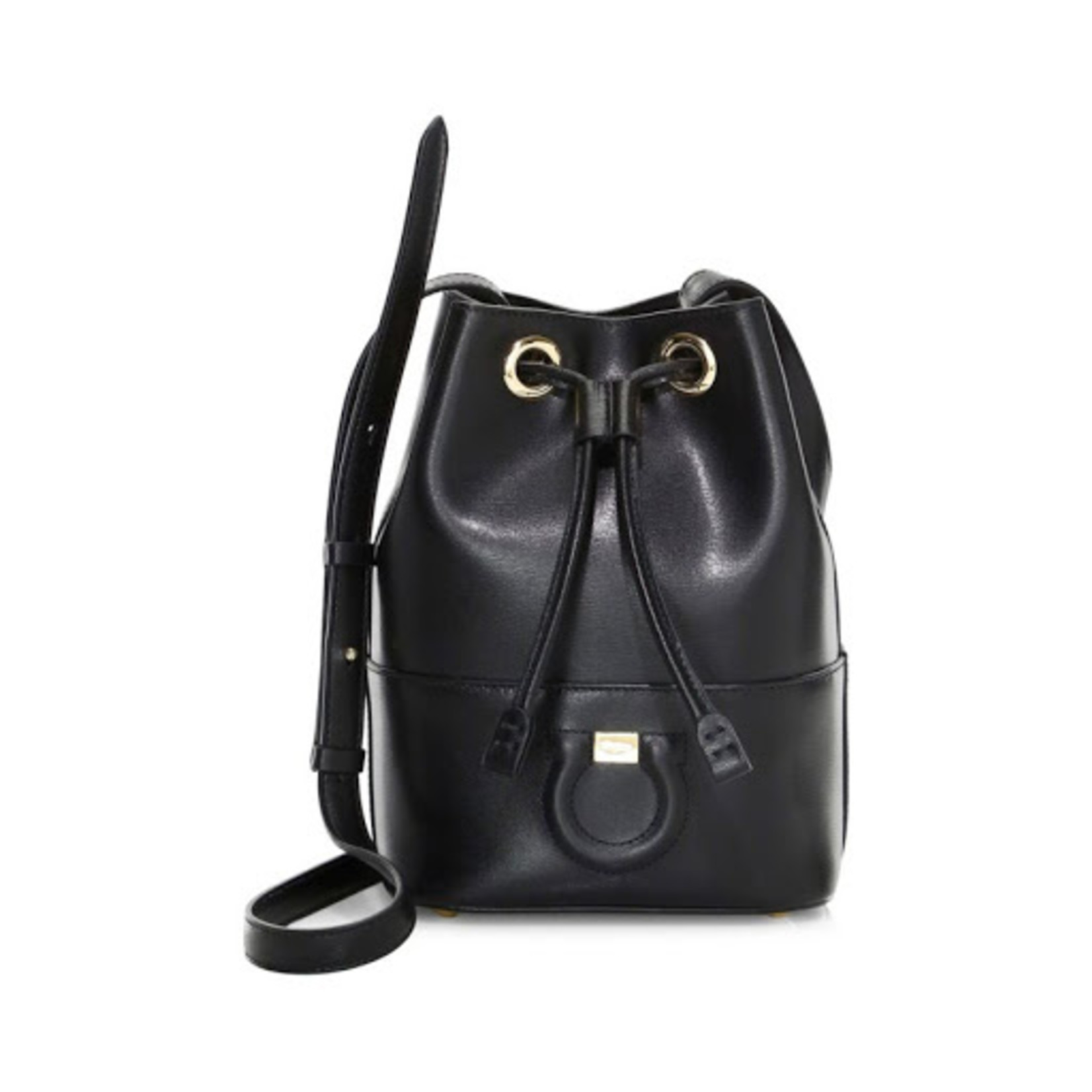 SALVATORE FERRAGAMO SALVATORE FERRAGAMO - GANCINI BUCKET BAG - BLACK - 726264
