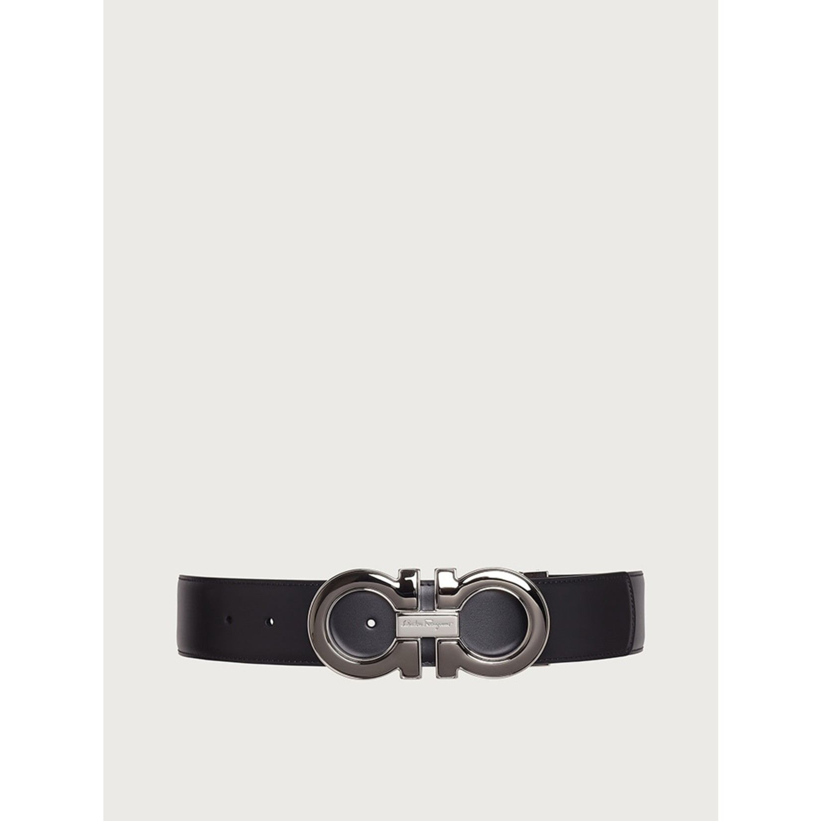 SALVATORE FERRAGAMO SALVATORE FERRAGAMO - REVERSIBLE GANCINI BELT - BLACK/HICKORY - 645904