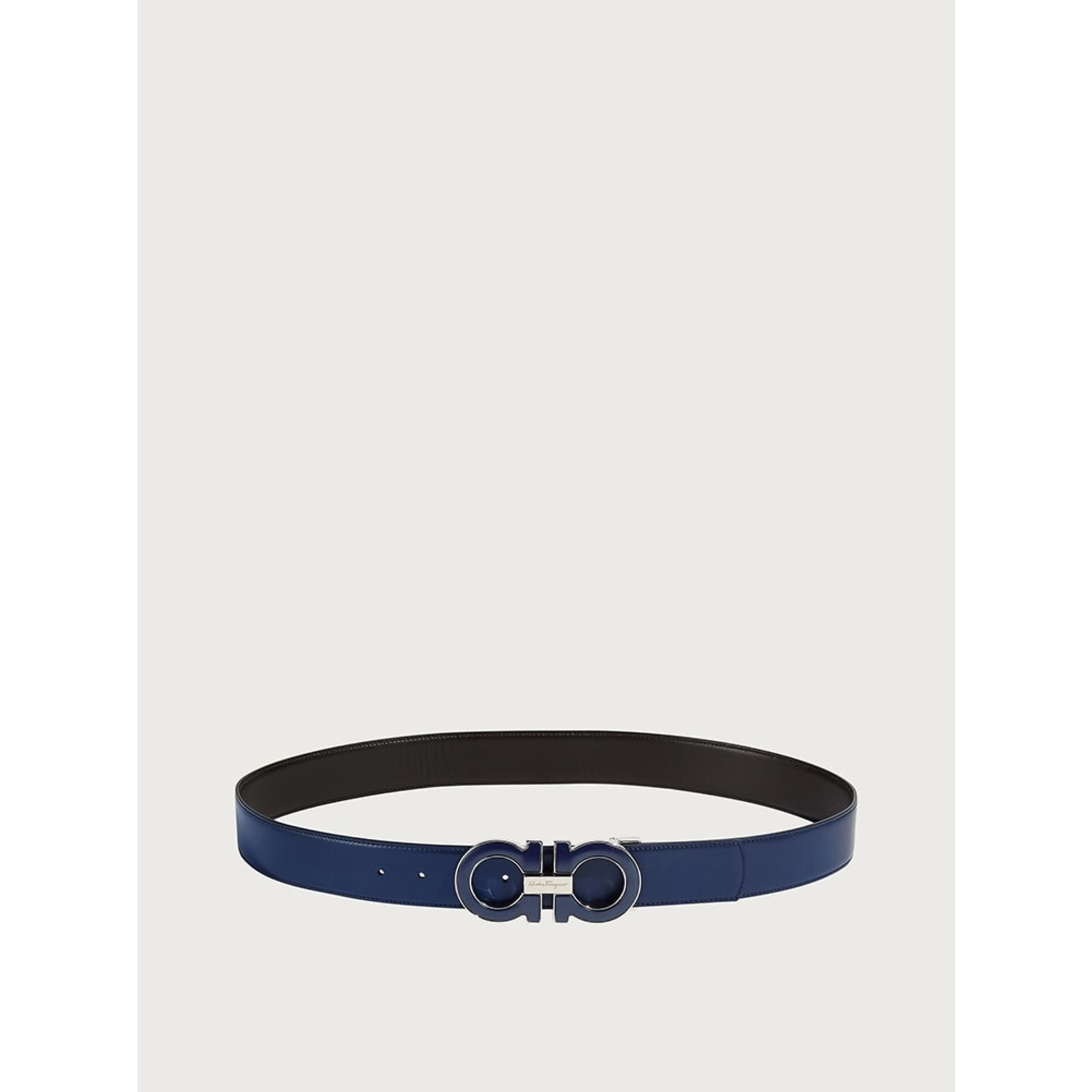 SALVATORE FERRAGAMO SALVATORE FERRAGAMO - REVERSIBLE GANCINI BELT - BLACK/NAVY - 705719