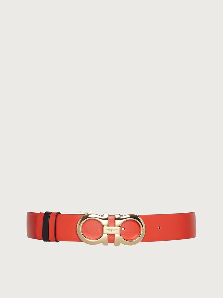 SALVATORE FERRAGAMO SALVATORE FERRAGAMO - REVERSIBLE GANCINI WOMEN'S BELT BLACK/RED - 724793