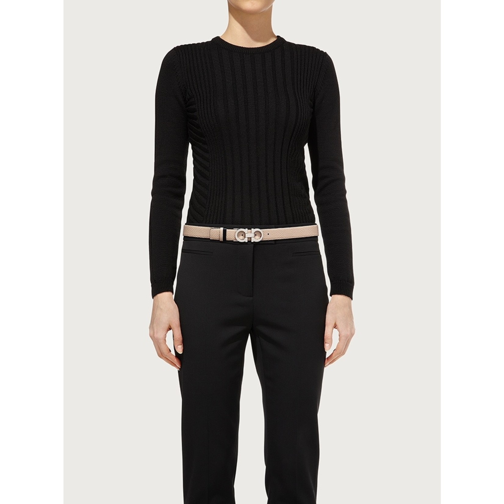 SALVATORE FERRAGAMO SALVATORE FERRAGAMO REVERSIBLE GANCINI WOMEN'S BELT BLACK/STONE - 724804