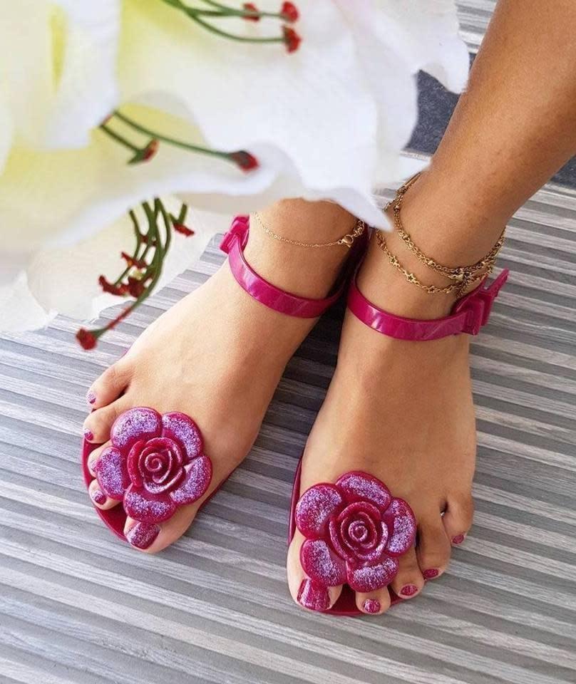 SHOELA SANDALE CARIBBEAN FLOWER - EGGPLANT