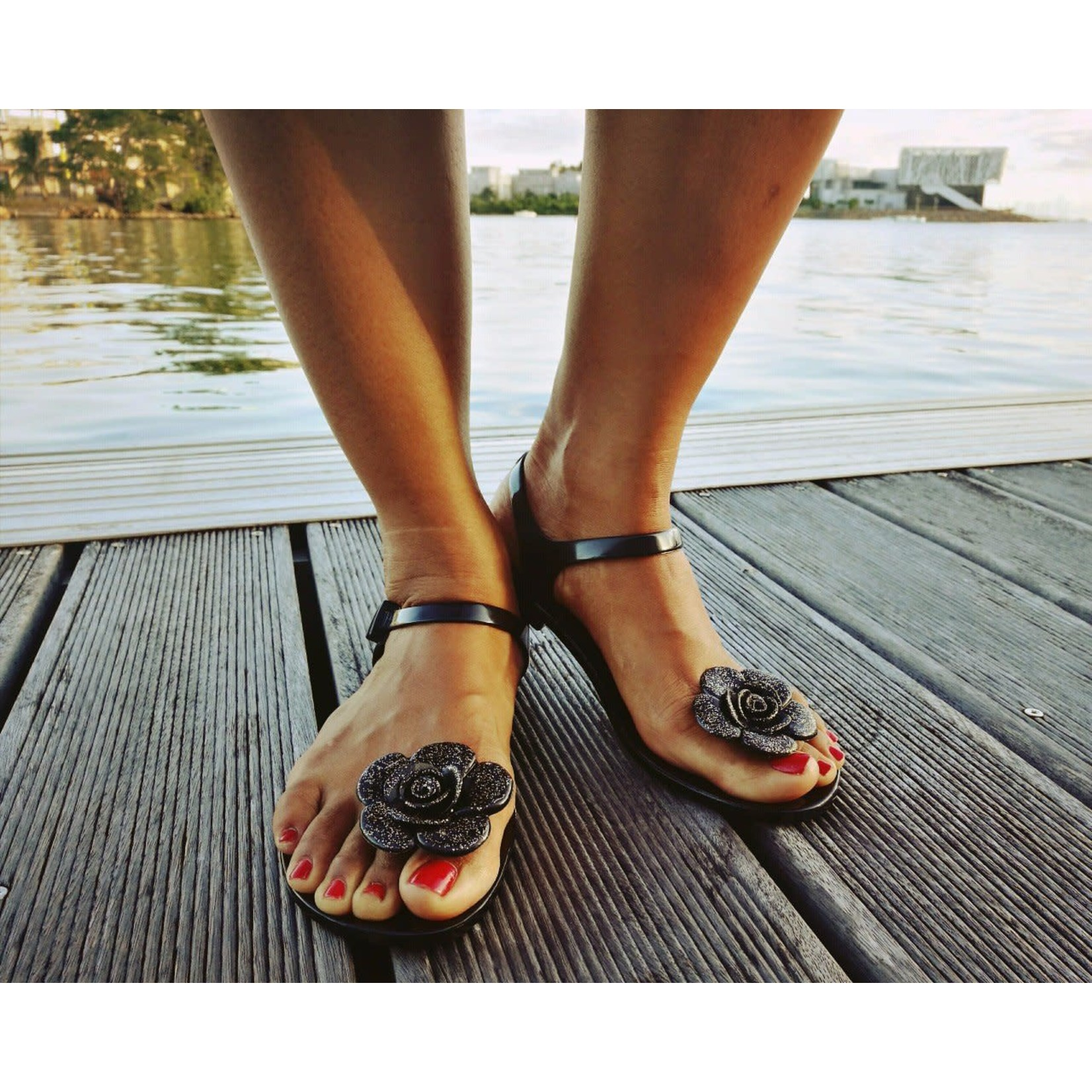 SHOELA SHOELA SANDALE CARIBBEAN FLOWER - BLACK