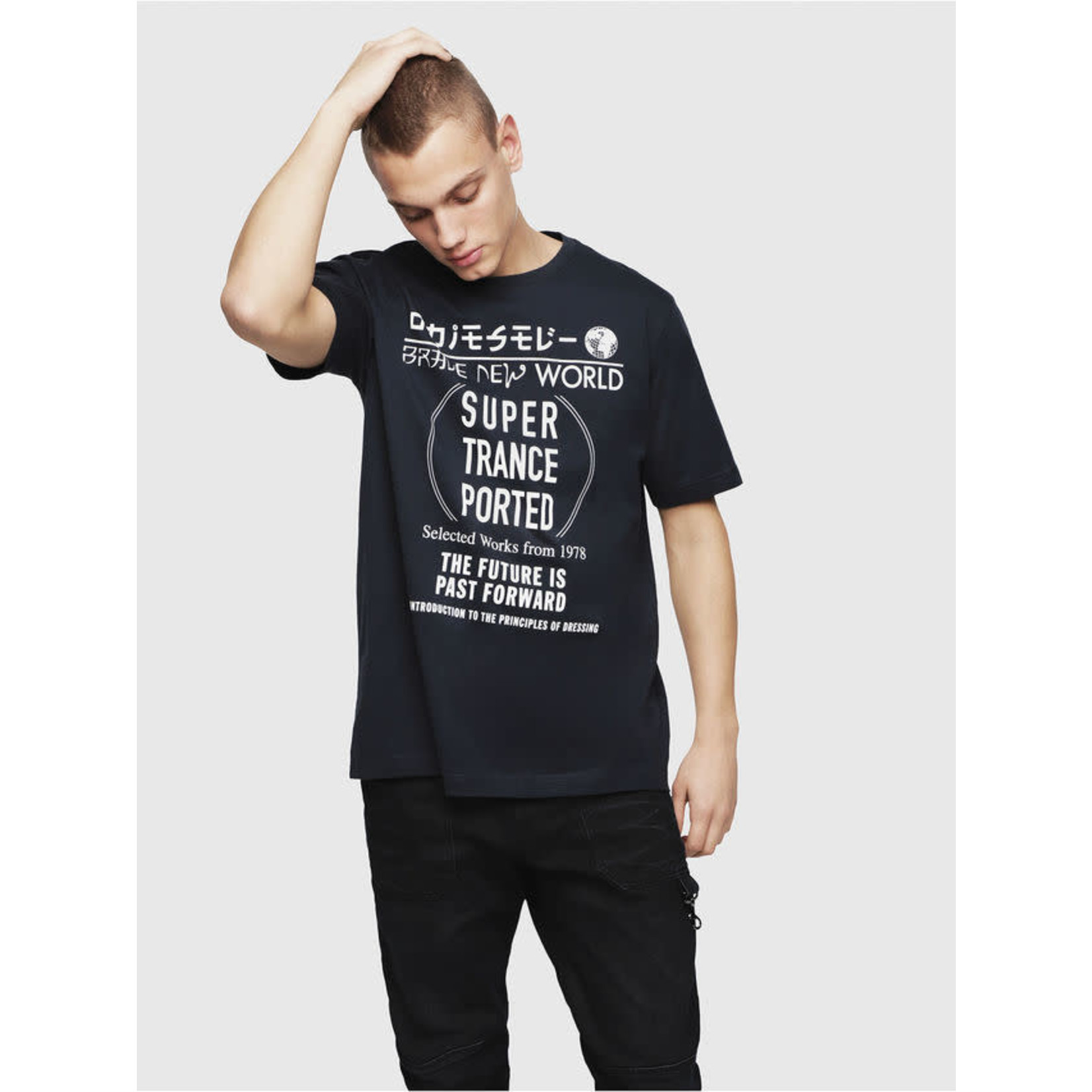 DIESEL DIESEL T-SHIRT T-JUST YL - DARK BLUE