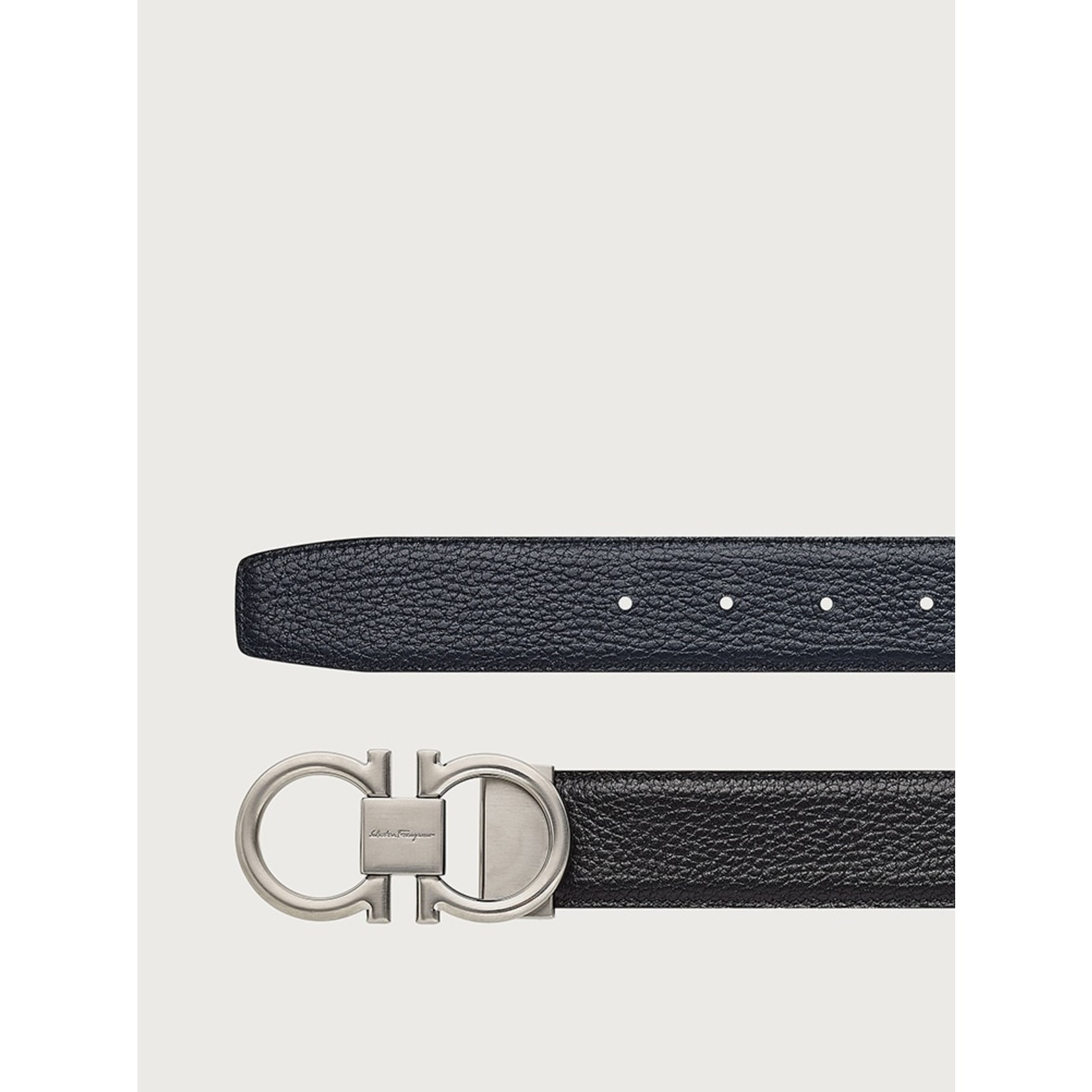SALVATORE FERRAGAMO SALVATORE FERRAGAMO - REVERSIBLE GANCINI BELT 742688 BLACK BLUE