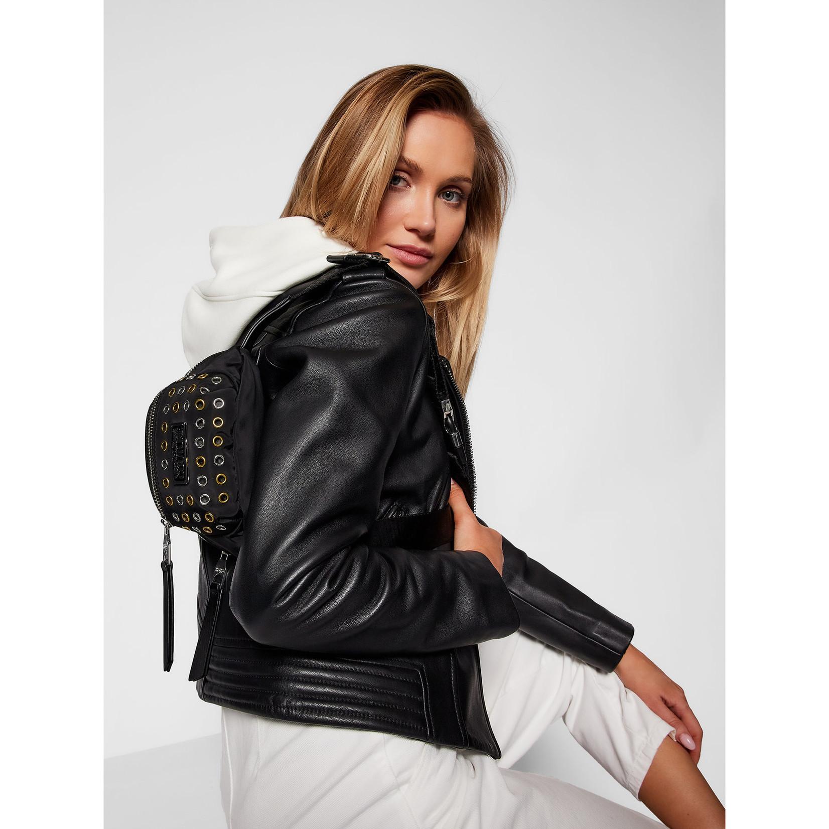 VERSACE JEANS COUTURE VERSACE JEANS COUTURE WOMEN'S BANANA BAG  ALLOVER EYELETS - E1VWABX5 BLACK